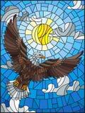 Λεκιασμένος αετός απεικόνισης γυαλιού στο υπόβαθρο του ουρανού, του ήλιου και των σύννεφων ελεύθερη απεικόνιση δικαιώματος