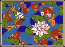 Λεκιασμένος με τα ψάρια στο υπόβαθρο των λουλουδιών και των φύλλων διανυσματική απεικόνιση