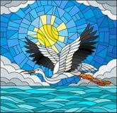Λεκιασμένος πελαργός απεικόνισης γυαλιού στο υπόβαθρο του ουρανού, του ήλιου, των σύννεφων και του νερού διανυσματική απεικόνιση