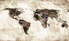 Λεκιασμένος Grunge χάρτης του κόσμου απεικόνιση αποθεμάτων