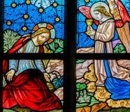 Λεκιασμένο γυαλί - Ιησούς στον κήπο Gethsemane στοκ εικόνες