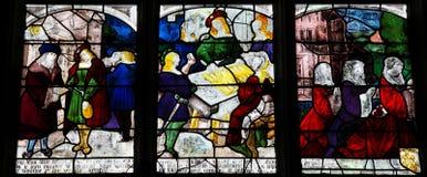Λεκιασμένο γυαλί Αγίου Anthony της Πάδοβας στην εκκλησία της Notre Dame Στοκ Εικόνες