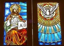 Λεκιασμένο γυαλί με το χριστιανικό αριθμό Στοκ Εικόνες