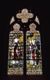Λεκιασμένο γυαλί στην εκκλησία Αγίου Barbara στις Βρυξέλλες στοκ εικόνα