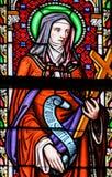 Λεκιασμένο γυαλί στην εκκλησία των Βρυξελλών Sablon - Άγιος Colette Corbi Στοκ εικόνα με δικαίωμα ελεύθερης χρήσης