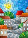 Λεκιασμένο γυαλιού τοπίο, στέγες και δέντρα απεικόνισης αστικό ενάντια στον ουρανό και τον ήλιο ημέρας Στοκ Εικόνα