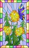 Λεκιασμένο λουλούδι απεικόνισης γυαλιού Taraxacum και της πεταλούδας σε ένα μπλε υπόβαθρο σε ένα φωτεινό πλαίσιο Στοκ εικόνα με δικαίωμα ελεύθερης χρήσης