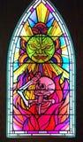 Λεκιασμένο παράθυρο γυαλιού φοβισμένος στο έκθεμα θανάτου σε MoPOP στο Σιάτλ στοκ εικόνα