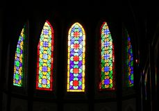 Λεκιασμένο παράθυρο γυαλιού λεπτομερώς και σχέδια στοκ εικόνες