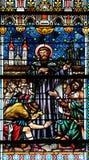 Λεκιασμένο παράθυρο γυαλιού στον καθεδρικό ναό του Άγιου Βασίλη σε Novo Mesto, Σλοβενία Στοκ Εικόνες