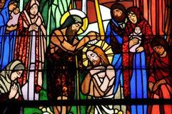 Λεκιασμένο παράθυρο γυαλιού της εκκλησίας Vermand σε Picardie Στοκ φωτογραφίες με δικαίωμα ελεύθερης χρήσης