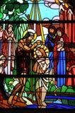 Λεκιασμένο παράθυρο γυαλιού της εκκλησίας Vermand σε Picardie Στοκ Εικόνες