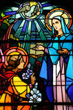 Λεκιασμένο παράθυρο γυαλιού της εκκλησίας Vermand σε Picardie Στοκ εικόνα με δικαίωμα ελεύθερης χρήσης