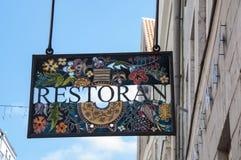 Λεκιασμένο σημάδι εστιατορίων γυαλιού Στοκ Εικόνες