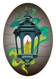 Λεκιασμένο φανάρι σχέδιο μωσαϊκών γυαλιού με τον καπνό και το σκοτεινό ωοειδές υπόβαθρο διανυσματική απεικόνιση