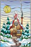 Λεκιασμένο χειμερινό τοπίο απεικόνισης γυαλιού, του χωριού σπίτι και fir-trees σε ένα υπόβαθρο του χιονιού, του ουρανού και του ή διανυσματική απεικόνιση