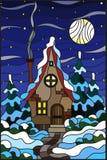 Λεκιασμένο χειμερινό τοπίο απεικόνισης γυαλιού, του χωριού σπίτι και fir-trees σε ένα υπόβαθρο του χιονιού, του έναστρων ουρανού  απεικόνιση αποθεμάτων