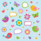 Λεκτικές φυσαλίδες με τα χαριτωμένα πουλιά ελεύθερη απεικόνιση δικαιώματος