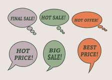 Λεκτικές φυσαλίδες πώλησης Σύνολο εικονιδίων απεικόνισης Στοκ Φωτογραφίες