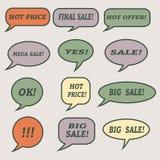 Λεκτικές φυσαλίδες πώλησης Σύνολο εικονιδίων απεικόνισης Στοκ φωτογραφίες με δικαίωμα ελεύθερης χρήσης