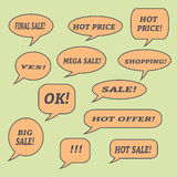 Λεκτικές φυσαλίδες πώλησης Σύνολο εικονιδίων απεικόνισης Στοκ φωτογραφία με δικαίωμα ελεύθερης χρήσης