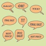 Λεκτικές φυσαλίδες πώλησης Σύνολο εικονιδίων απεικόνισης Στοκ Εικόνες