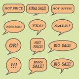 Λεκτικές φυσαλίδες πώλησης Σύνολο εικονιδίων απεικόνισης Στοκ Εικόνα