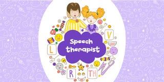 Λεκτική θεραπεία παρουσίασης έννοιας Εικονίδια σχεδίων των χαριτωμένων παιδιών στο ύφος kavai στο θέμα της λεκτικής θεραπείας Ομι στοκ φωτογραφίες με δικαίωμα ελεύθερης χρήσης
