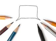Λεκτική φυσαλίδα με τα μολύβια Στοκ φωτογραφία με δικαίωμα ελεύθερης χρήσης