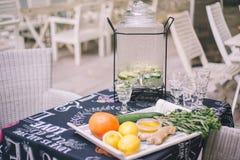 Λεμονάδα λεμόνι-αγγουριών στη λεμονάδα Μπροστά από τον είναι συστατικά φρούτων σε έναν δίσκο στοκ φωτογραφία με δικαίωμα ελεύθερης χρήσης