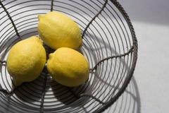 λεμόνια καλαθιών Στοκ φωτογραφίες με δικαίωμα ελεύθερης χρήσης