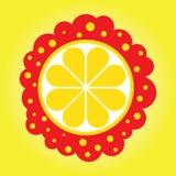 Λεμόνι κινούμενων σχεδίων η φέτα μέσα σε ένα κίτρινο υπόβαθρο Στοκ εικόνα με δικαίωμα ελεύθερης χρήσης