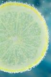 Λεμόνι στο ενωμένο με διοξείδιο του άνθρακα νερό Στοκ Εικόνες