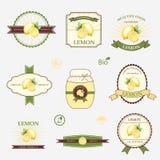 Λεμόνι, σύνολο σχεδίου ετικετών Στοκ Εικόνες