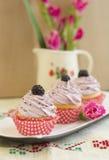 Λεμόνι του Blackberry cupcakes Στοκ Εικόνες