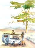 Λεοπαρδάλεις και watercolor σαφάρι στοκ φωτογραφίες
