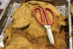 Λεπιοειδές βόειο κρέας jerky και ψαλίδι Στοκ Εικόνα