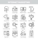Λεπτά εικονίδια γραμμών για το μάρκετινγκ και το seo Διαδικτύου Στοκ Εικόνες