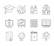 Λεπτά εικονίδια γραμμών εκπαίδευσης Στοκ Εικόνα