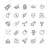 Λεπτά εικονίδια γραμμών - διάστημα, σύνολο αστρονομίας Στοκ Φωτογραφίες