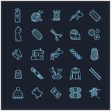 Λεπτά εικονίδια γραμμών καθορισμένα - ραπτική, ράψιμο, πλέξιμο Στοκ Εικόνα
