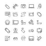 Λεπτά εικονίδια γραμμών καθορισμένα - συσκευές, συσκευές, ηλεκτρονικές Στοκ Εικόνες