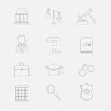 Λεπτά εικονίδια γραμμών νόμου και δικαιοσύνης Το νομικό σύστημα, ο δικαστής, η αστυνομία και ο δικηγόρος Στοκ Εικόνα