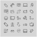 Λεπτά εικονίδια γραμμών - συσκευές, συσκευές, ηλεκτρονικές Στοκ Εικόνες