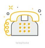 Λεπτά εικονίδια γραμμών, τηλέφωνο Στοκ Εικόνα