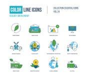 Λεπτά εικονίδια γραμμών χρώματος καθορισμένα Οικολογία, πράσινη ενέργεια, έξυπνο σπίτι, Στοκ Φωτογραφία