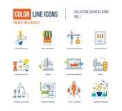 Λεπτά εικονίδια γραμμών χρώματος καθορισμένα Στοκ Φωτογραφίες
