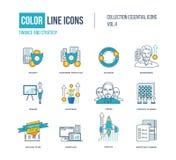 Λεπτά εικονίδια γραμμών χρώματος καθορισμένα Στοκ Εικόνα