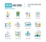 Λεπτά εικονίδια γραμμών χρώματος καθορισμένα Στοκ φωτογραφία με δικαίωμα ελεύθερης χρήσης