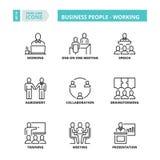 Λεπτά εικονίδια γραμμών business people working Στοκ φωτογραφίες με δικαίωμα ελεύθερης χρήσης